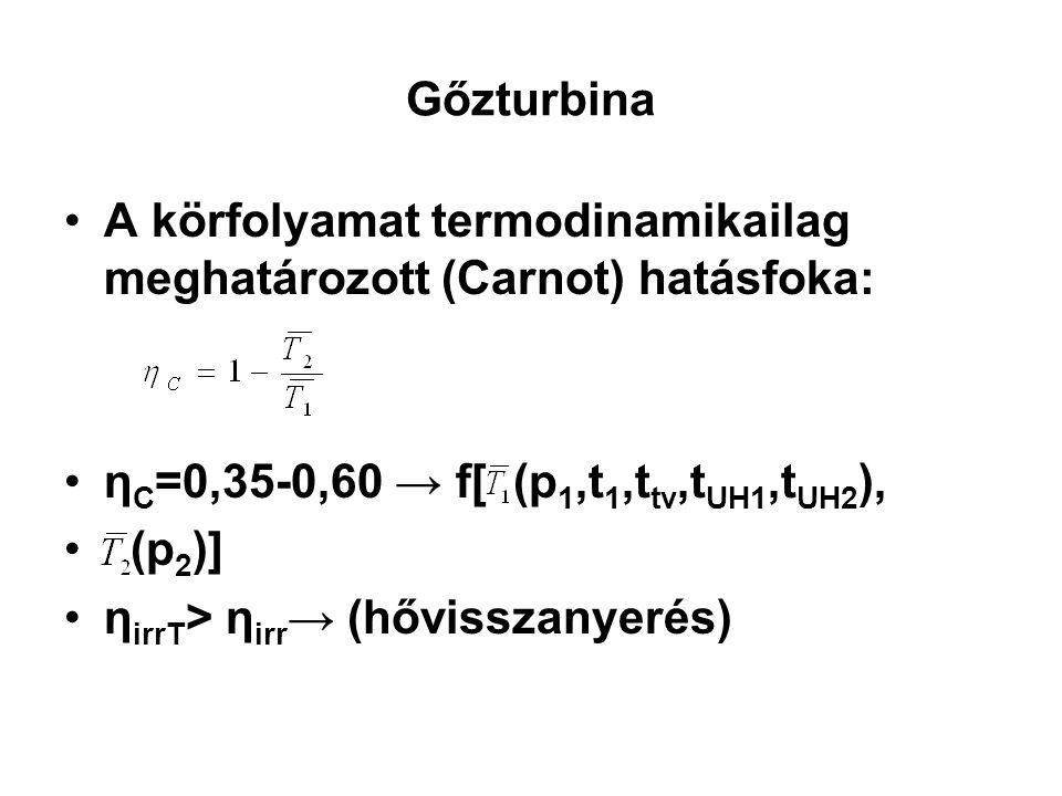 Gőzturbina A körfolyamat termodinamikailag meghatározott (Carnot) hatásfoka: ηC=0,35-0,60 → f[ (p1,t1,ttv,tUH1,tUH2),